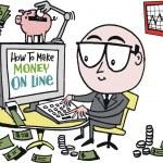Vector cartoon of business executive making money on internet. — Stock Vector #25778371
