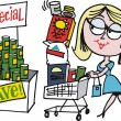 Vector cartoon of woman shopping for groceries in supermarket — Stock Vector