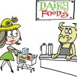 Vector cartoon of woman shopping for dairy products in supermarket — Stockvectorbeeld