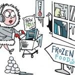 Vector cartoon of overweight man buying food in supermarket — Stock Vector #25778525