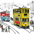 Vector illustration of Hong Kong trams, and pedestrians. — Stock Vector