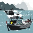 Vector illustration of Vietnamese fishing boats at sea — 图库矢量图片