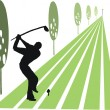 Vector illustration of golfer swinging club on fairway. - Stok Vektör