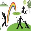 Vector illustration of golfers playing on course. — Stock Vector