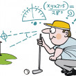 Stock Vector: Vector cartoon of golfer planning shot