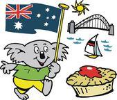 Vector cartoon of Australian koala bear with flag and meat pie — Stock Vector