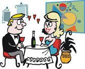 Vector cartoon of man and woman having romantic dinner — Stock Vector