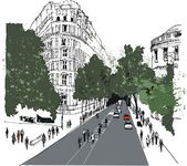 Vector illustration of Whitehall street scene with pedestrians, London — Stock Vector