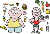 Caricature de vecteur d'un homme en surpoids avec les fast-foods — Vecteur