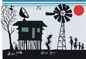 Vector cartoon of old Australian outback shack with satellite dish on roof — Stock Vector