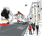 Vector illustration of London city street with pedestrians — Stock Vector