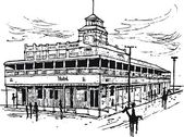 Vector illustration of old hotel in Australian outback town with pedestrians. — Stock Vector