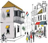 Vector drawing of street scene showing old buildings in French town with pedestrians. — Stock Vector