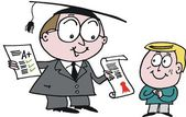 Vector cartoon of school teacher giving award to bright pupil — Vecteur
