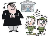 Vector cartoon of two boys being caught fighting by school teacher. — Stock Vector
