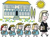 Vector cartoon of school teacher with pupils — Stock vektor