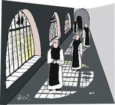 Vector illustration of monks in monastery — Stock Vector