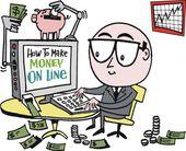 Vector cartoon of business executive making money on internet. — Stock Vector