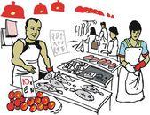 Ilustracja wektorowa azjatycki człowiek na targ rybny, hong kong — Wektor stockowy