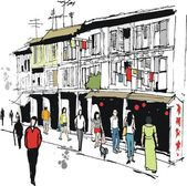 Vector illustration of old buildings and pedestrians in Chinatown, Singapore — Stock Vector