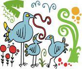Vector cartoon of bird feeding chicks with worms — Stock Vector