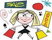 Wektor karykatura kobieta noszenie torby na zakupy. — Wektor stockowy