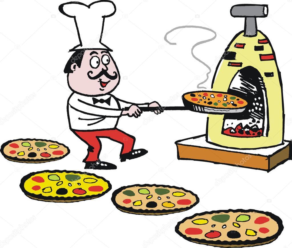 Dibujos animados Vector del chef colocar pizzas en el horno — Vector