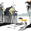 Vector illustration of Malay fishing village, Singapore Asia — Stock Vector
