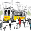 Vector drawing of Lisbon tram with pedestrians, Portugal. — Stock Vector