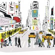 Vector illustration of pedestrians crossing road at Times Square, New York — Stock Vector