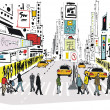 Vector illustration of pedestrians crossing road at Times Square, New York — 图库矢量图片