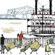 Vector illustration of Mississipi paddle steamer and tourists - Stock Vector