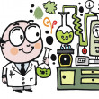 Vector cartoon of scientist in laboratory — Stock Vector