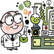 Vector cartoon of scientist in laboratory — Imagen vectorial