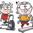 Stock Vector: Vector cartoon of grandparents using exercise machines