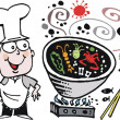 Vector cartoon of happy chef cooking Asian food in wok — Vector de stock