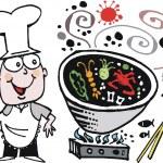 Vector cartoon of happy chef cooking Asian food in wok — Stock Vector