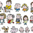 Vector cartoon of family group showing children, babies, parents and grandparents — Image vectorielle