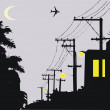 Vector illustration of silhouette telephone poles at night. — Stock Vector #25959145