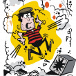 Vector cartoon of burglar using explosive to open safe — 图库矢量图片