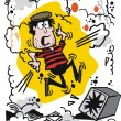 Vector cartoon of burglar using explosive to open safe — Imagens vectoriais em stock