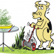 Vector cartoon of hungry cow mowing grass to eat. — Stock Vector