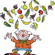 Vector cartoon of clown juggling fruit and vegetables. — Stock Vector