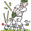 Stock Vector: Vector cartoon of cricketer being bowled by fast ball.