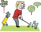 Vector cartoon of man on golf course with bird. — Stock Vector