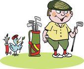 Golfçü vektör çizgi film kulüpleri bir çanta — Stok Vektör