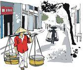 Vektor illustration av asiatiska man transporterar mat korgar, hanoi, vietnam — Stockvektor
