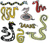 Vector cartoon showing group of snakes — Stock Vector