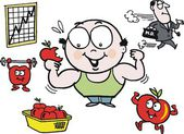Vector cartoon of healthy man eating apple — Stock Vector
