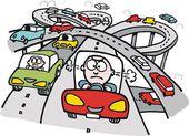 Vector cartoon of traffic on highway — Stock Vector